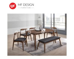 MF DESIGN  Olim Dining Set (1Table + 4 Chair + 1 Bench) (Scandinavian Design) [Full Solid Rubber Wood]
